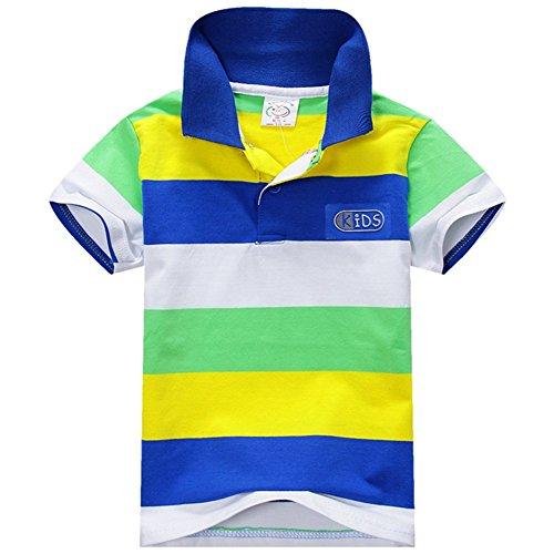 ESHOO ESHOO scherzt Jungen-Mädchen-kurzes Hülsen-gestreiftes T-Shirt Polo-Hemden Sommer 1-7 Jahre