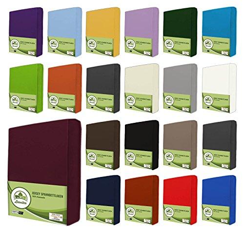 leevitex® Jersey Spannbettlaken, Spannbetttuch 100% Baumwolle in vielen Größen und Farben MARKENQUALITÄT ÖKOTEX Standard 100 | 180 x 200 cm - 200 x 200 cm - Bordeaux Rot