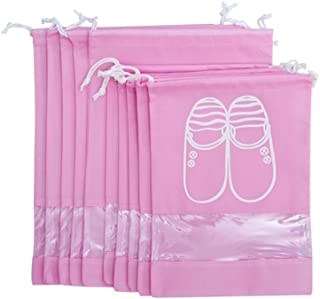WESTONETEK Pack of 10 Portable Dust-Proof Breathable Travel Shoe Organizer Bags for Boots, High Heel - Drawstring, Transparent Window, Space Saving Storage Bags, 5 Large + 5 Medium Size, Pink