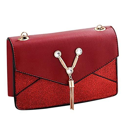 TUDUZ Bolsa Mujer Bandolera Bolsas Crossbody Bolsa de cuero (Rojo)