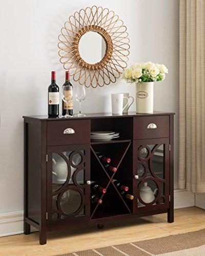 Kings Brand Jamestown Wood Buffet Server Storage Sideboard Wine Cabinet, Cherry