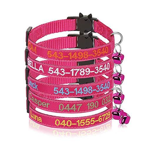 Collare per Gatto Personalizzato Breakaway con Campana, Fibbia di sgancio di Sicurezza Collare per Gatto Personalizzato, Nome identificativo Ricamato sul Collare per Gattino con Campana (Rosa Rossa)