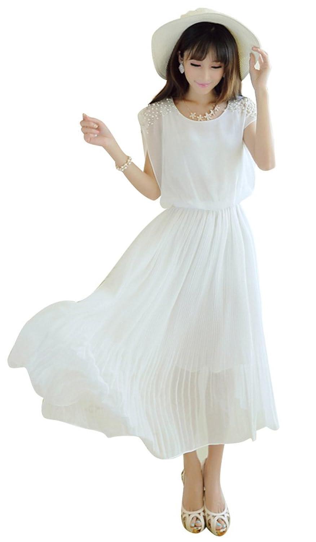 Lecpra (レクプラ) プリーツ パールビーズ ロング ドレス ワンピース レディース 桃 白 黒 (S M L XL XXL) マキシ (L, ホワイト)