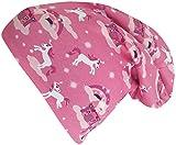 Wollhuhn ÖKO Long-Beanie, Wende-Mütze, ganzjährig, Mini Einhorn pink/rosa, innen Uni grau, für Mädchen (aus Öko-Stoffen, Bio), 20180304, Gr S: KU 48/50 (ca 1-3 Jahre)