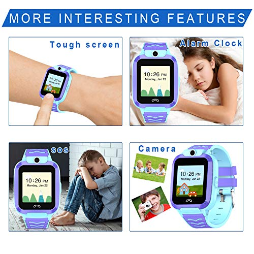 UOTO 4G Kids Smartwatch Phone, WiFi LBS GPS Tracker Watch Waterproof for Boys Girls with Pedometer/Remote monitoring/FaceTalk/2-way Call/SOS, Kids Christmas Birthday Gift(Blue-Q51) 3