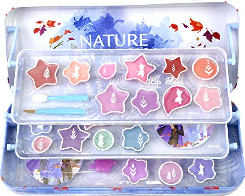 Frozen II Kosmetikdose: 3-stufiges Beauty Case aus Metall, ausklappbar mit drei Ebenen, Kinderschminke für Augen und Lippen, Schwamm-Applikator und Sticker
