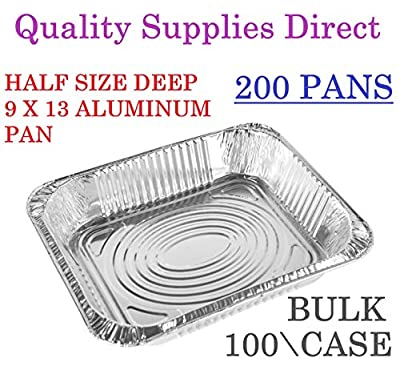 2 CASE - Aluminum Pans 9 x 13 Disposable Foil Pans 2 Box (100 box) Half Size Deep Steam Table Pans - Tin Foil Pans Great For Cooking, Heating, Storing And Food Prepping