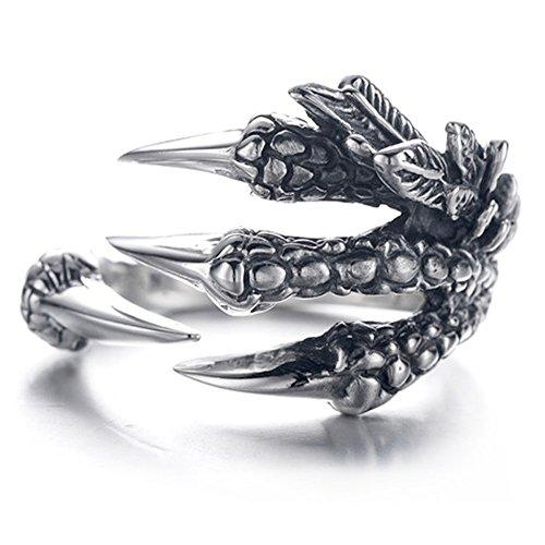 EQLEF Anillo de Garras de dragón, Anillo gótico para Hombre Anillo de Anillo Salvaje de Alondra para Hombre (A)