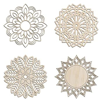 Ambesonne Mandala Wooden Wall Art Set of 4 Culture Themed Lattice Lines Medallion Birch Wood Plywood Rustic Wall Art Accent for Hallway Bedroom Living Room Cafes and Offices 11.4  X 11.4  X 0.1