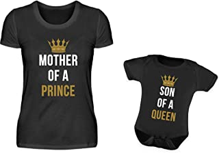 PlimPlom Mutter Baby Sohn Partnerlook T-Shirt Und Babybody Strampler Mother Of A Prince Und Son Of A Queen Mama Kind Partneroutfit
