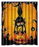 KXMDXA Duschvorhang, Halloween, Katzenkratzer, Kürbis-Eule, Polyester, Größe 152,4 x 182,9 cm