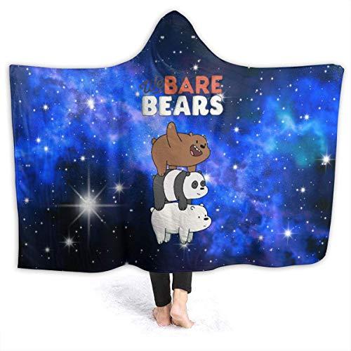 Cool We Bare Bears - Manta con capucha suave y cálida de franela para sofá, cama de 50 x 40 pulgadas