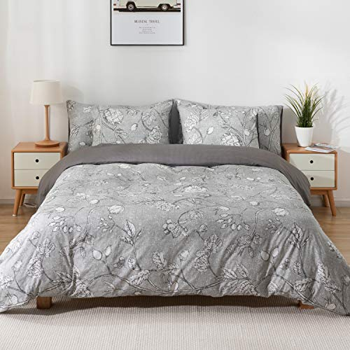 KOMEX 100% Cotton Duvet Cover Set 3 Pieces (2 Pillowcase,1 Duvet Cover) Bedding Sets Autumn Leaves Grey Print Soft Comforter Cover with Zipper Closure and Corner Ties Full/Queen(90'x90')