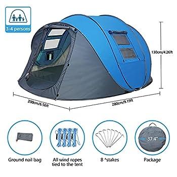 LIVHOOU Tente de Camping 3-4 Personnes Imperméable Abri Soleil Extérieur, Tente de Plage Portable avec Protection UV, pour Famille Plage Camping Randonnée Alpinisme Bleu