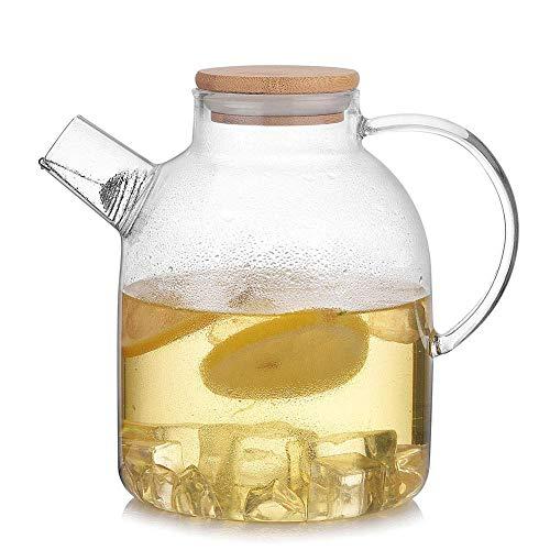 ZXL glas water karaf met bamboe deksel, 1800 ml glas water Pitcher hittebestendige glas waterkruik fles voor water, melk, sap, ijsthee