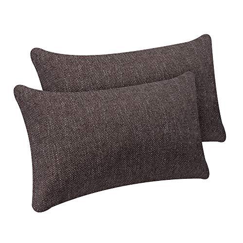 Selfitex 2er Set Kissenbezug, Dekokissen, Kissenhüllen ohne Füllung, Komfort-Polsterstoff mit Reißverschluss, für Sofa Couch Wohnzimmer, Kopfkissenbezug im Doppelpack (2X 30 x 50 cm, Braun)