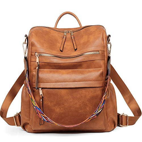 Women Backpack Purse, Fashion Leather Designer Ladies Rucksack, Convertible Travel Shoulder Bag with Colorful strap