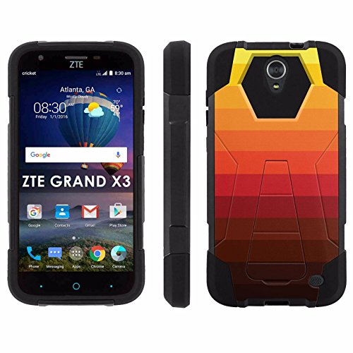 ZTE Uhura Grand X3 Z959 [Warp 7] Phone Cover, Orange Gradiant - Black Hexo Hybrid Armor Phone Case for ZTE Uhura Grand X3 Z959 [Warp 7]