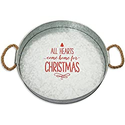 Farmhouse Christmas Decor a galvanized metal tray with a poem on it.