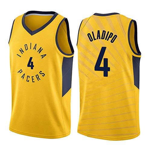 Indiana Pacers # 4 Victor Oladipo Trikot, Herren/Jugend Basketball Fans Retro Mesh Sport Weste, Bestickt Atmungsaktive Basketball Uniform T-Shirt Swingman Trikot Yellow-XL