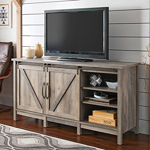 Almeris Lux TV Stand Console Storage Media Farmhouse 70' TV Cabinet Display Shelf Shelves Unit Living Room Wood Furniture Video Games Entertainment Center Rustic Gray