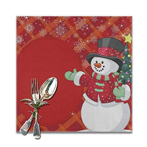 Merry Christmas Cute Snowman Placemats for Dining Table Set of 6 Heat Resistant Table Mat Washable Non Slip Large Fabric Coffee Kitchen Square Plate Mat Personalized Decorative