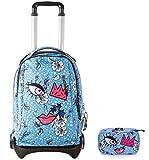 invicta trolley plug face + portapenne con contenuto - angel blue azzurro - zaino sganciabile - scuola e viaggio 35 lt