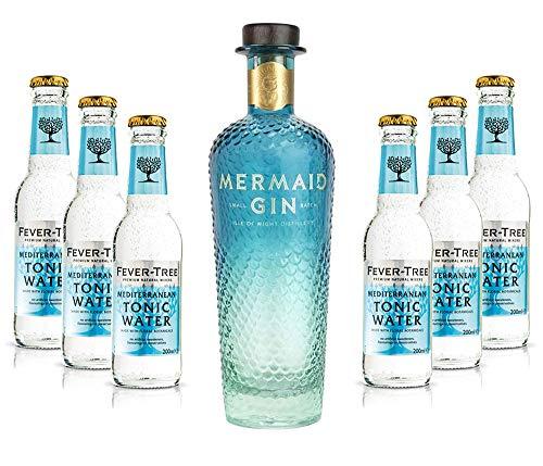 Mixcompany Gin Tonic Set - Mermaid Gin 0,7L 700ml (42% Vol) + 6x Fever-Tree Mediterranean Tonic Water 0,2 MEHRWEG inkl. Pfand - [Enthält Sulfite]