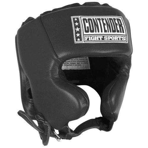 Contender Fight Sports Competition Boxing Headgear with Cheeks , Black , Medium