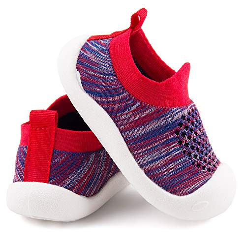 Baby First-Walking Shoes 1-4 Years Kid Shoes Trainers Toddler Infant Boys Girls Soft Sole Non Slip Cotton Mesh Breathable Lightweight Slip-on Sneakers Outdoor(Red02,9 Toddler) T23