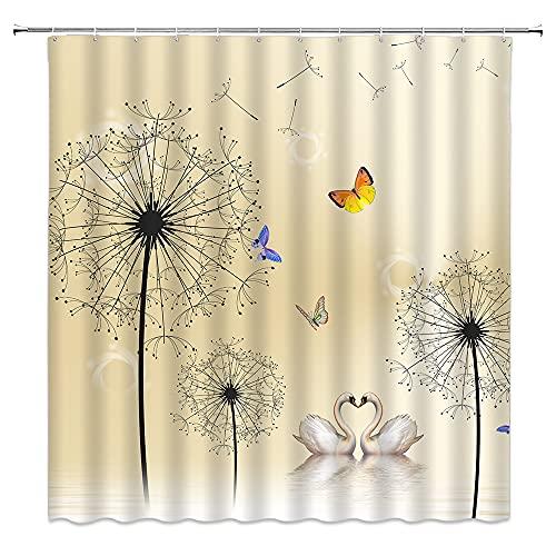Löwenzahn Duschvorhang Liebhaber, Schwan, Schmetterling, Blumensamen, fliegende Kräuterpflanzen, Druck, natürlich, künstlerische Kreativität, geeignet für Badezimmer, Polyestergewebe mit 12 Haken