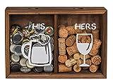 MC Trend Corona Corcho Tapa colector Caja de Madera con Dos Compartimentos Vino Cerveza Regalo Idea cumpleaños celebración de la Boda
