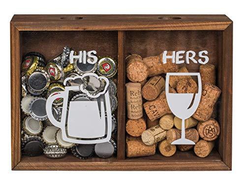 MC Trend Kronkorken Korken Deckel-Sammler Holz Box mit Zwei Fächern Bier Wein Geschenk-Idee Geburtstag Hochzeit Feier Stammtisch Bar