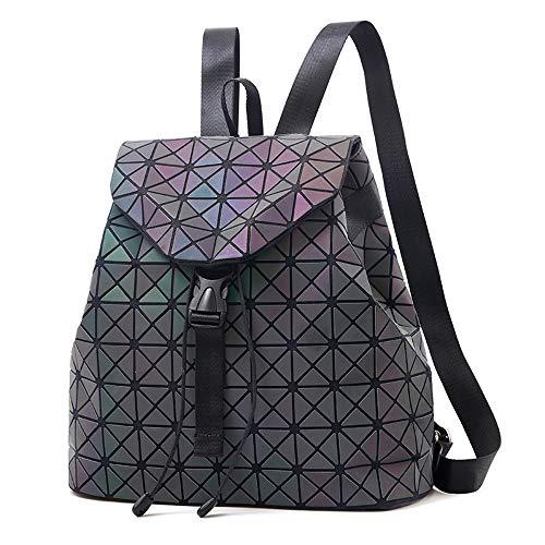 Nevenka Zaino Donna Borsa a Spalla Geometrico a Rombo con Colori Luminosi Borse Coulisse Zainetto Backpack alla Moda, Grande Quadrato Geometrico (luminoso 2)