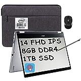 2021 Flagship Acer Spin 3 2 in 1 Laptop 14' FHD IPS Touchscreen Intel Quad-Core i5-1035G1 (Beats i7-8550U) 8GB DDR4 1TB SSD Fingerprint Backlit Webcam Thunderbolt Win 10 + iCarp Wireless Mouse
