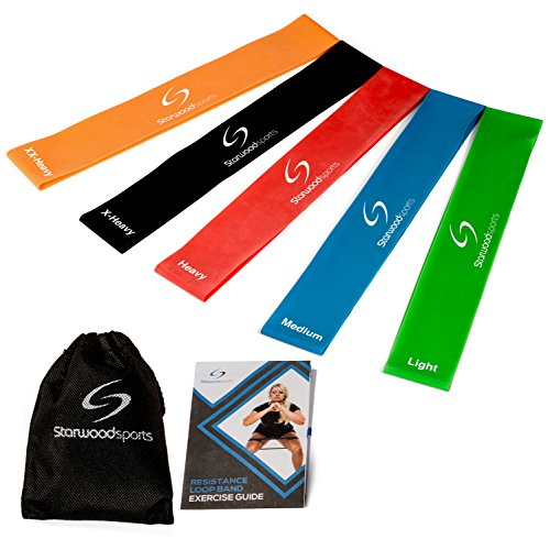 Starwood Sports Resistance Bands Set of 5 30x5cm Rubber Latex Elastic Loop Fitness Bands For Men Women Build Strength Muscle Tone Exercise Pilates Yoga Legs Gym Workout Multicolour