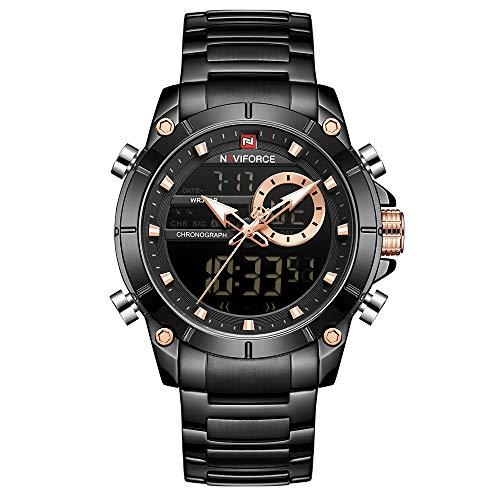 Relógio de pulso masculino de luxo digital de quartzo à prova d'água com cronógrafo de aço inoxidável moderno, NF9163-BB, M