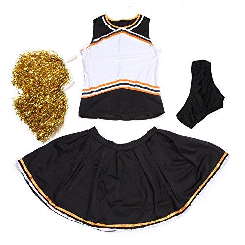 Self Custom Costume sportif de pom-pom girl noir et orange avec pompons. Conçu pour imprimer le logo sur le devant du costume par transfert au fer à repasser.