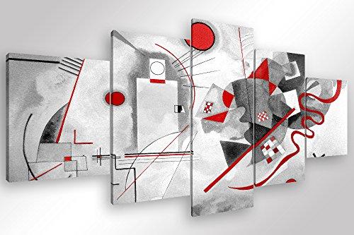 Degona Quadro Moderno Kandinsky Modern - 5 pz. cm 200x90 Stampa su Tela Canvas Arredamento Arte Astratto XXL Arredo per Soggiorno Salotto Camera da Letto Cucina Ufficio Bar Ristorante