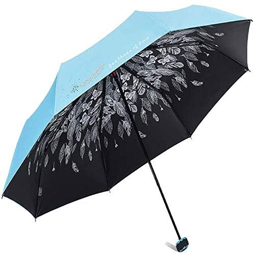 YUSHIJIA Paraguas portátil Paraguas Sol, Mujer soleada y Lluvia Protección de Doble Uso UV Parasol Triple Plegado (Color: a) Paraguas de Viaje Compacto a Prueba de Viento (Color : C)