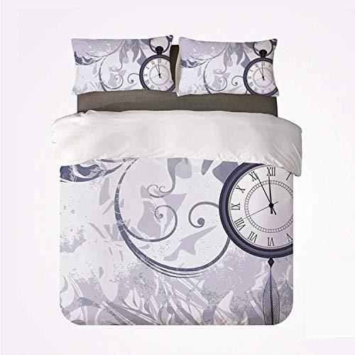 Juego de Funda nórdica Antiguo cómodo Juego de 3 sábanas, un Reloj de Bolsillo con Cadena sobre Fondo Ornamental clásico con Silueta de Hojas para Hotel