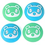 Tscope Animal Crossing Thumb Grip Caps for Nintendo Switch/Switch Lite Controller, Joy-Cons Analog Joystick Cute Raccoon Soft Silicone Covers for NS Accessories (Blue&Green)