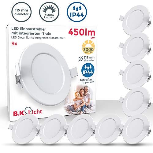 B.K.Licht I 9er Set LED Bad Einbauleuchten I Ultra Flach 30mm I Ø115mm I Weiß I 9 x 6W LED Platinen I 450 Lumen I 3.000K Warmweiß I IP44 I Bad- Einbaustrahler