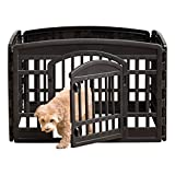 IRIS USA 24'' 4 Panel Exercise Pet Playpen with Door, Black