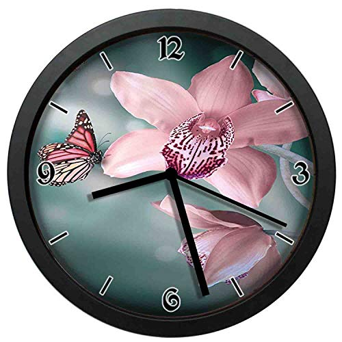 Orchid Flower with Butterfly Soft Fresh Spring Nature Theme Art Photo Baby Pink and Jade Green Non-Ticking Silent Decorative Clocks Wall Clocks for Living Room Round Retro Indoor Wall Clocks 10in