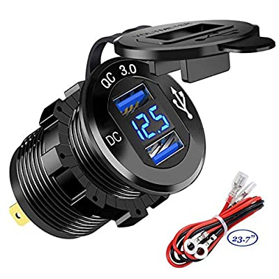 Quick Charge 3.0 Car Charger Socket 12V/24V 36W Aluminum QC3.0 Dual USB Fast Charger Socket Power Outlet with LED Voltmeter for Marine, Boat, Motorcycle, Truck, Golf Cart (Dual QC3.0 (Blue))