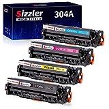 S-Sizzler Compatible HP 304A Cartucho de tóner CC530A CC531A CC532A CC533A para HP Color LaserJet CM2320fxi CM2320nf CM2320 mfp CP2320 CP2025 CP2025n CP2025dn (1 Negro, 1 Cian, 1 Magenta, 1 Amarillo)