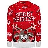 Kinder-Strickpullover, unisex, Weihnachtsmotiv: Rudolph Gr. 11-12 Jahre, Frohe Weihnachten rot