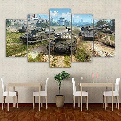 ZPDWT Tanque Militar del Mundo de la Guerra del ejército 5 Piezas de Arte de Pared Pintura,Impresión en Lienzo 5 Piezas Impresión Artística Imagen Gráfica Decoracion de Pared Arte 150x80cm