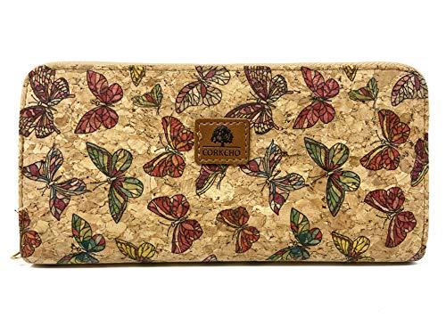 CORKCHO Monederos Mujer Grande – Cartera Mujer de Cuero Sintetico y Corcho Natural – Billetera Con Cremallera Diseño Mariposa Ranuras Para Tarjetas y Bolsillo InternO